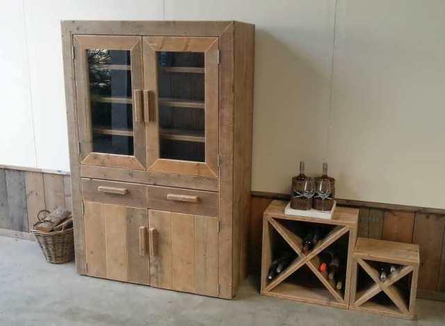 steigerhout vitrinekast yvet 120x45x180cm oud steigerhout 2 comp lak 4